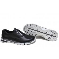 Анатомични български обувки от естествена кожа НЛМ 323-КРОС черен | Равни дамски обувки | MES.BG