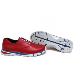 Анатомични български обувки от естествена кожа НЛМ 323-КРОС червен | Равни дамски обувки | MES.BG