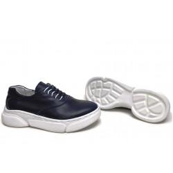 Анатомични български обувки от естествена кожа НЛМ 323-187 син | Равни дамски обувки | MES.BG