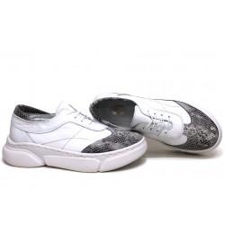 Анатомични български обувки от естествена кожа НЛМ 325-187 бял-змия | Равни дамски обувки | MES.BG