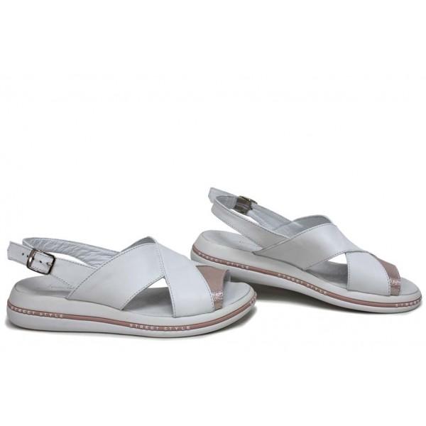 Равни дамски сандали, естествена кожа, катарама, анатомични, ежедневни / НЛМ 328-189 бял-пудра сатен / MES.BG