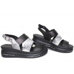 Дамски сандали, естествена кожа, катарама, анатомични, платформа, за всеки ден / НЛМ 330-359 черен-бял питон / MES.BG