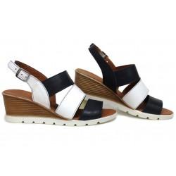 Анатомични дамски сандали, естествена кожа, катарама, леки, платформа / НЛМ 330-96199 бял-син / MES.BG