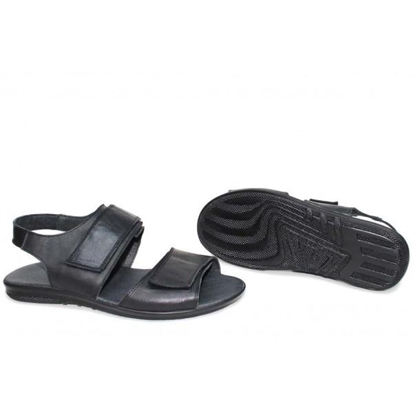 Български дамски сандали, естествени, лепенки за закопчаване, анатомични / НЛМ 331-2187 черен кожа / MES.BG