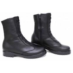 Дамски боти, равни, анатомични, естествена кожа, български, тип кубинки / НЛМ 94-1711 черен / MES.BG