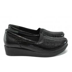 Дамски ортопедични обувки на платформа, естествена кожа-лак с кроко ефект, ластик / МИ 6522 черен кроко / MES.BG