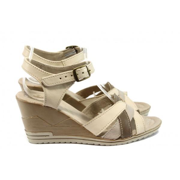 Български анатомични сандали, платформа, изцяло от естествена кожа / Ани 202-15462 кафе / MES.BG