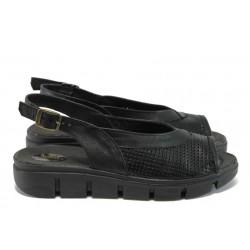 Български дамски сандали, естествена кожа с нежна перфорация, анатомично ходило / Ани 236-382 черен / MES.BG