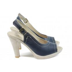 Анатомични дамски сандали, висок ток, изцяло от естествена кожа / Ани 204-7976 син / MES.BG
