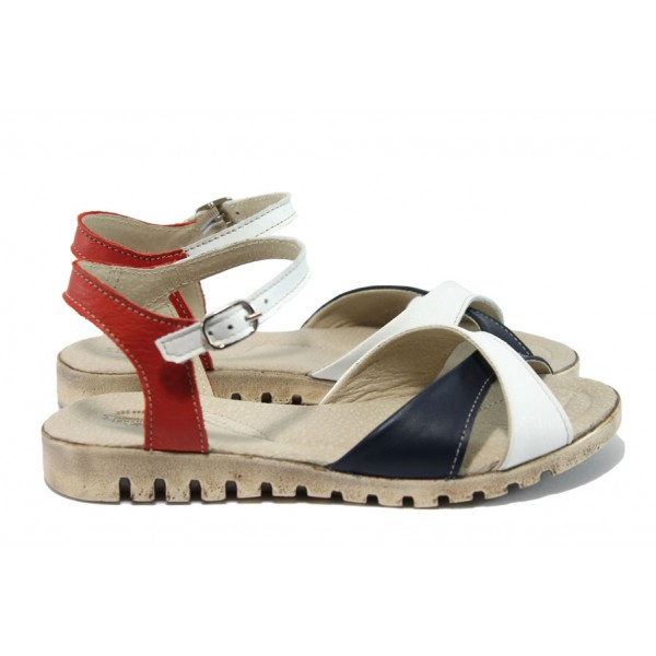 Равни български сандали, дамски, анатомични, естествена кожа / Ани 240-16121 бял-чевен / MES.BG
