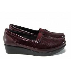 Дамски ортопедични обувки от естествена кожа-лак МИ 012 бордо кроко-гигант | Обувки на платформа | MES.BG
