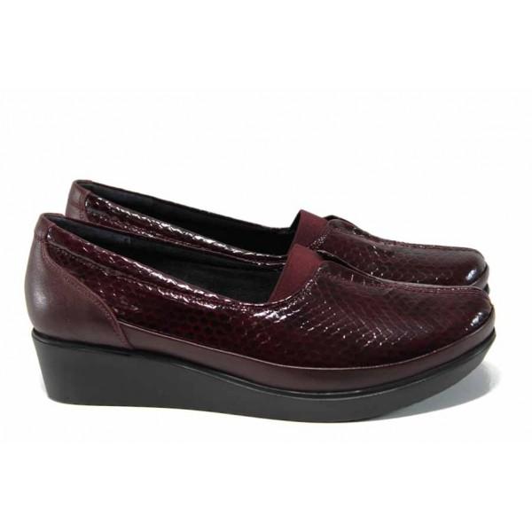 Дамски ортопедични обувки от естествена кожа-лак МИ 012 бордо кроко-гигант   Обувки на платформа   MES.BG