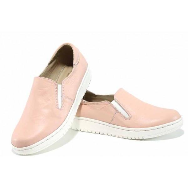Български анатомични обувки с ластици, гъвкаво ходило, естествена кожа / Ани 280-1608 розов / MES.BG