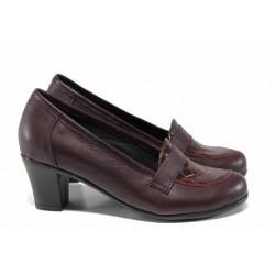 """Български дамски обувки, естествена кожа с """"кроко"""" мотив, анатомично ходило / Ани 282-1705 бордо кроко / MES.BG"""