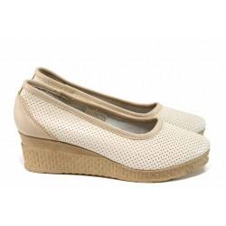 Български анатомични обувки на платформа, изцяло от естествена кожа / Ани 286-18206 сахара / MES.BG