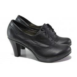 Анатомични дамски обувки с връзки, висок ток, естествена кожа / Ани 151-6843 черен / MES.BG