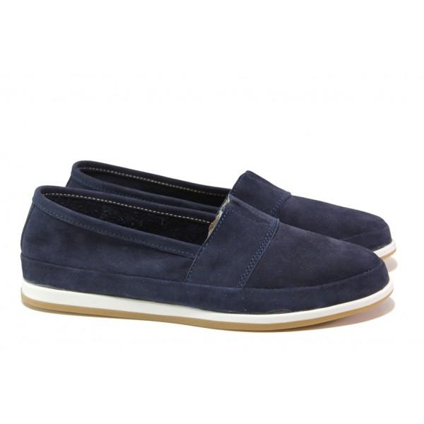 Равни дамски обувки, естествен набук, комфортно анатомично ходило / Ани 301 AMINA син / MES.BG