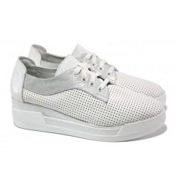 Български дамски обувки на платформа, естествена кожа с нежна перфорация, връзки / Ани 289-8218 бял / MES.BG