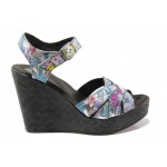 Български дамски сандали с флорален мотив, естествена кожа, платформа / Ани 202-96134 шарен-цветя / MES.BG