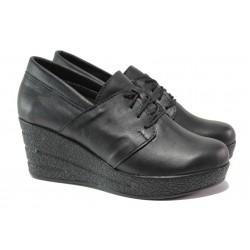 Български дамски обувки на платформа, естествена кожа, анатомично ходило / Ани 292-96145 черен кожа / MES.BG