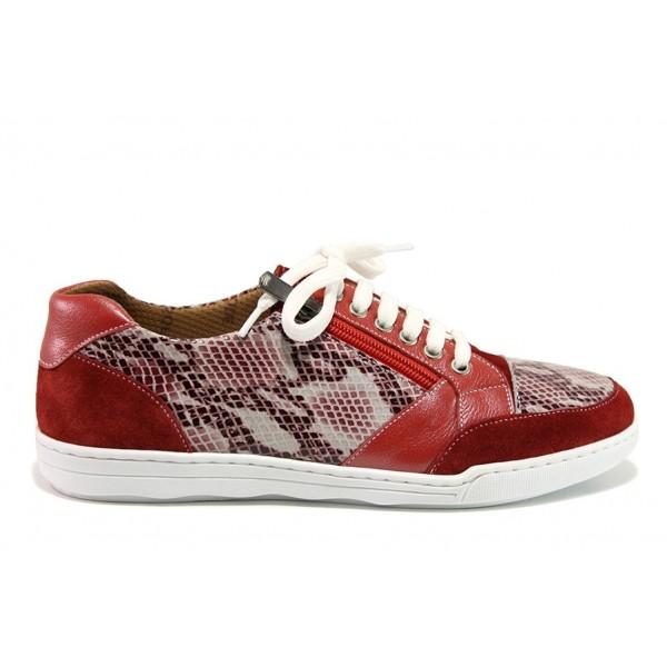Дамски ортопедични спортни обувки от естествена кожа SOFTMODE 201 Carmen червен змия   Дамски маратонки   MES.BG