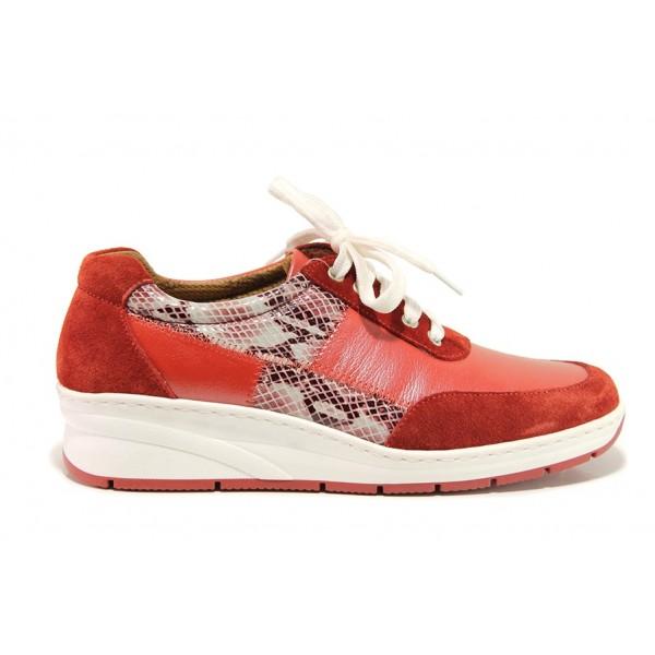 Дамски ортопедични обувки от естествена кожа SOFTMODE 1171 червен   Дамски обувки на платформа   MES.BG