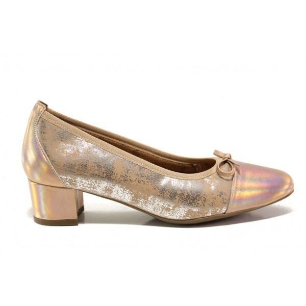 Дамски ортопедични обувки от естествена кожа SOFTMODE 5602 Gemma бронз | Дамски обувки на среден ток | MES.BG