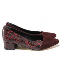 Елегантни дамски обувки ТЯ 238 бордо велур | Дамски обувки на среден ток | MES.BG