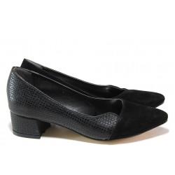 Елегантни дамски обувки ТЯ 238 черен велур | Дамски обувки на среден ток | MES.BG