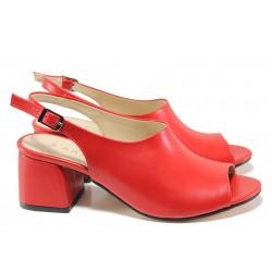 Комфортни дамски сандали на среден ток ТЯ 2034 червен | Дамски сандали на ток | MES.BG
