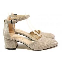Елегантни дамски обувки ТЯ 100-100 бежов | Дамски обувки на среден ток | MES.BG
