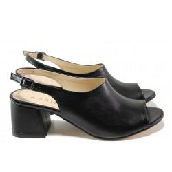 Комфортни дамски сандали на среден ток ТЯ 2034 черен | Дамски сандали на ток | MES.BG