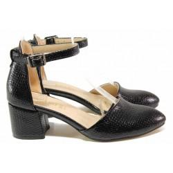 Елегантни дамски обувки ТЯ 100-100 черен | Дамски обувки на среден ток | MES.BG