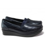 Дамски ортопедични обувки от естествена кожа-лак МИ 012 син кроко | Обувки на платформа | MES.BG