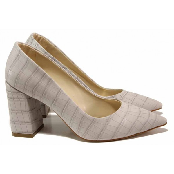 Елегантни дамски обувки ФА 43 св.сив   Дамски обувки на висок ток   MES.BG