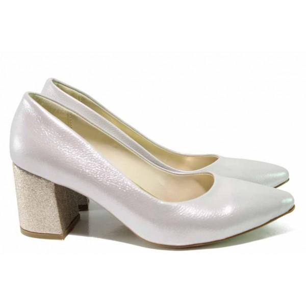 Елегантни дамски обувки ФА 873 бежов-злато | Дамски обувки на висок ток | MES.BG
