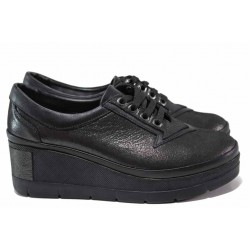 Анатомични дамски обувки от естествена кожа МИ 808-750 сив сатен | Обувки на платформа | MES.BG