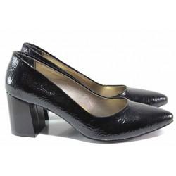 Елегантни дамски обувки, комфортно ходило, мека кожа-лак с мачкан ефект / ФА 873 черен лак / MES.BG