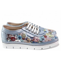 Дамски обувки от естествена кожа-сатен, ортопедична стелка от естествена кожа, гъвкави, еластични, с връзки / МИ 299-14601 син-цветя / MES.BG