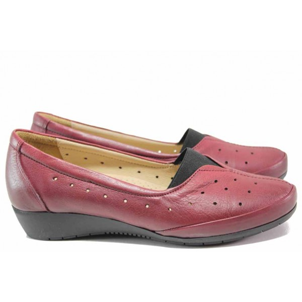 Дамски ортопедични обувки, естествена кожа бордо, перфорация, 100% удобство / МИ 911 бордо / MES.BG