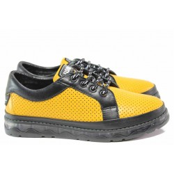 Удобни дамски обувки с вградена въздушна камера, модерен дизайн, естествена кожа с перфорация, естествени кожени хастар и стелка / МИ 785-324 жълт-черен / MES.BG