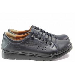 Ежедневни дамски обувки с ортопедична кожена стелка, ластични връзки, FLEX система / МИ 031 черен / MES.BG