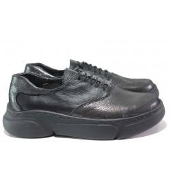 Български дамски обувки; изцяло естествени материали; комфортно ходило - лепно и шито; връзки / НЛ 323-187 черен-сатен/ MES.BG