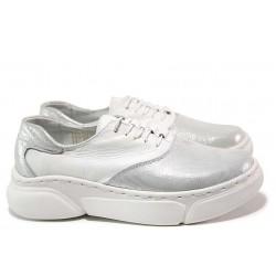 Спортни дамски обувки; естествена гладка кожа и естествена кожа-сатен; анатомична кожена стелка / НЛ 323-187 бял-сатен/ MES.BG