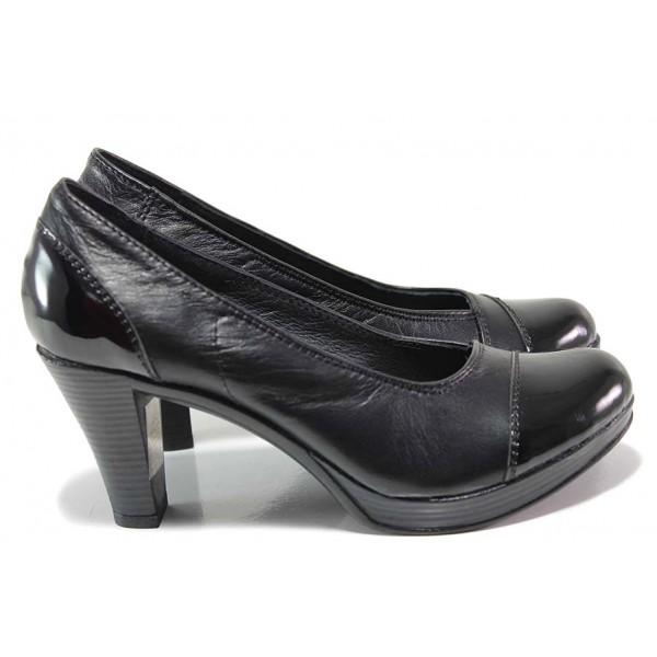 Дамски обувки на ток; платформа отпред; изцяло естествена гладка кожа и лак; леко ходило; плавна извивка; нежно деколте / НЛ 140-6843 черен-лак/ MES.BG