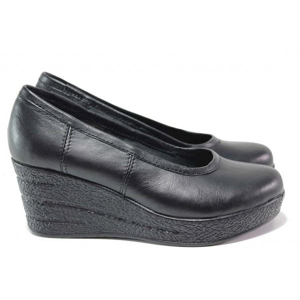 Български анатомични обувки; естествена хастарна част; лека удобна платформа / НЛ 299-96145 черен/ MES.BG