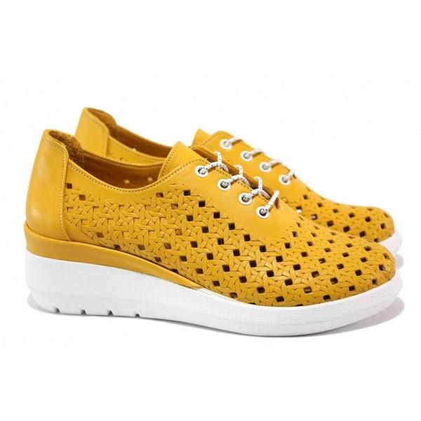 Анатомични дамски обувки; естествена кожа с прорези; леко ходило; еластични връзки / ТЯ 420-27 жълт / MES.BG