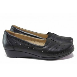 Комфортни дамски обувки; изцяло от естествена кожа; ортопедична ''дишаща'' стелка / МИ 911 черен / MES.BG