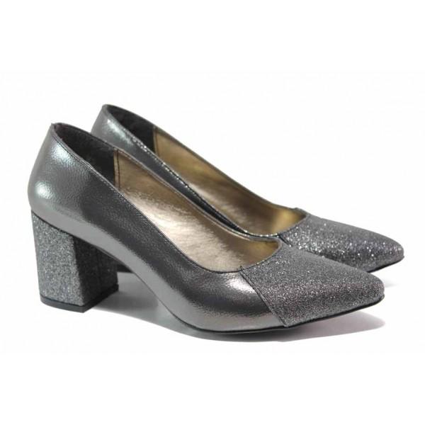 Елегантни дамски обувки; плавна извивка на ходилото, ефектна визия / ФА 400 т.сив / MES.BG