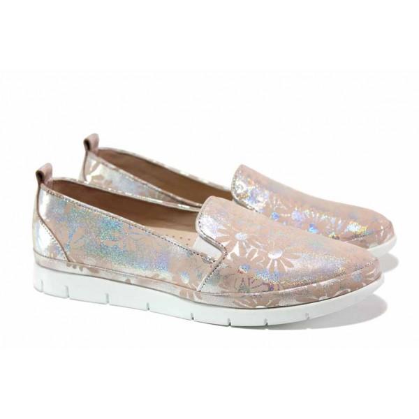Дамски обувки-естествена кожа; ортопедична ''дишаща'' стелка от естествена кожа; ластик при свода / МИ 273-1515 розов / MES.BG